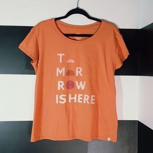 LIFE IS GOOD Orange Tomorrow Is Here Shirt Sz M